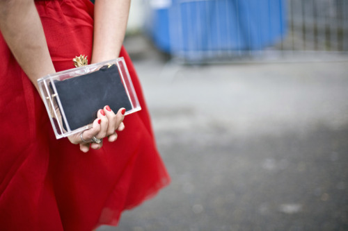 A beautiful clutch, love the detailing. Astrid Munoz, a model, was seen carrying this clutch at paris fashion week spring/summer 2011.