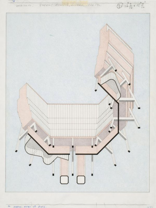 James Stirling, Florey Building Worms-eye-view Axonometric Currently using Stirling as a drawing precident - trying to bash a few of these out for Uni