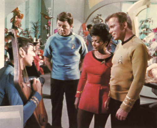 "catnipsoup:  buttsexington:  filming Star Trek - deleted recreation room scene another frame from the deleted recreation room scene from the third season episode ""Elaan of Troyius."" filmed June 10, 1968 (via)  Oh yeah… This is where Kirk asks Spock to play a song, and Spock says ""okay"" before starting to play a Vulcan love song."