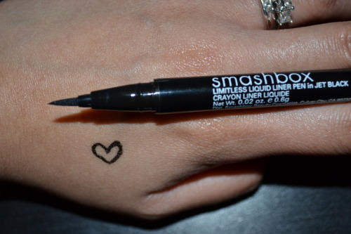 My absolute favorite liquid liner: Smashbox's Limitless Liquid Liner Pen in Jet Black.  (And my disfigured heart swatch.) $22 at Sephora. Waterproof. There are just some days that I don't feel like getting out my liner brush, dipping it into my gel liner and then sit there spending the extra few minutes to make my liner on my upper lid look perfect. That's just me. Soooo, that's when I use this. The felt tip makes it super easy to create a fine, precise line that you can obviously build up if need be. Dries super fast so I don't have to worry about it smearing. (Especially with my monlids. I'm super picky when it comes to liners…But this one is amaaaazing!) If you've never used a liquid liner pen before, you may want to do a few trial runs and practice with it first, just so you get used to it. But I promise you that after you get the hang of it - You'll LOVE it. I have tried several drugstore liquid liner pens, but they just never seemed to work as well for me. Random fact: No matter what day or time it is - I ALWAYS rock a winged out eyeliner. Some days may be more settle or dramatic than others…But you will never really catch me without winged out eyeliner on my upperlids. Sometimes (but more often these days) that's all I'll wear on my lids with a bit of mascara, blush, and lipstick. :) It's also a fact that I'll be repurchasing this product once it sadly runs out from my over-usage. :( Bye loves! xo, Nikole