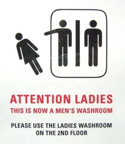Men Only bathroom sign. via FunnySigns.net
