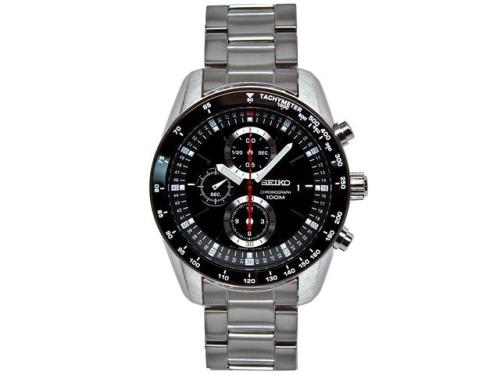 Here's a handsome and affordable watch: the Seiko SNDB73. It's a substantial chronograph, with an automatic movement and an impressive price tag: about $150. EDIT: A couple folks have written to inform me that the watch is mis-labeled as an automatic. It's actually quartz. Still pretty nice, but a little less nice.