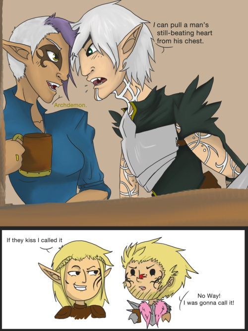My angry Tabris and Fenris territorially pissing over each other. And Zev and Derp Hakwe doing what they do best. Derping.