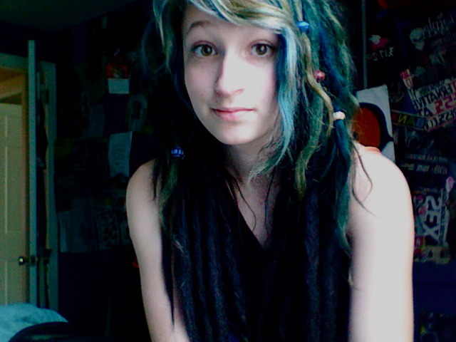 My shorter green dreads are locking up quite nicely :)