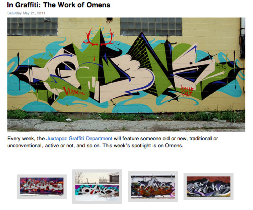 Chicago graffiti artist Omens is on Juxtapoz.  Hella dope.