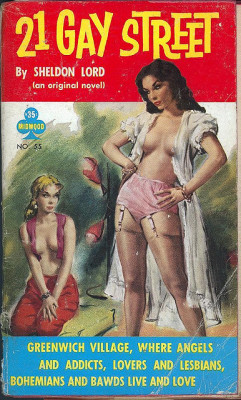 On Queer Pulp and Where Homos Happen: Twelve Aha! Finally, an exact address. For a fabulous analysis of lesbian pulp fiction and its relationship to Greenwich Village (as both real place, and imaginary bohemia) see Christopher Nealon's amazing book: Foundlings: Lesbian and Gay Historical Emotion Before Stonewall.