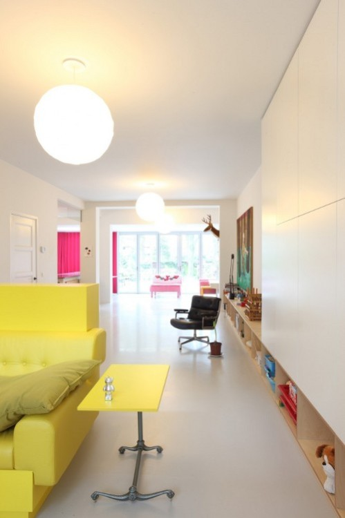 Fluo spots in a open space by De Bever Architecten (via Hinteriors)