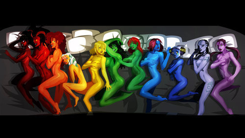 supersexyheroes:  so colorful! i see ms.martian and starfire!