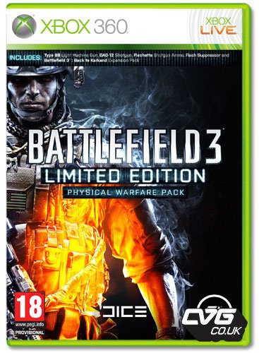"Battlefield 3 Limited Edition: Physical Warfare Pack has been detailed. Anyone pre- ordering will receive the Type 88 light machine gun with bi-pod, the SKS sniper rifle flash supressor, the DAO-12 Semi automatic shotgun and armour piercing rounds to go with it as well as the ""Back to Karkland"" Map pack!"