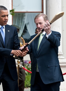 So proud to be Irish today and having President Obama over! :D  Incase your wondering he's holding a hurl from the Irish sport hurling or for girls it's called camogie. I've been playing since I was four so I wanted him to hold a hurl badly haha. Ireland + America = Best Friends Forever! ;)
