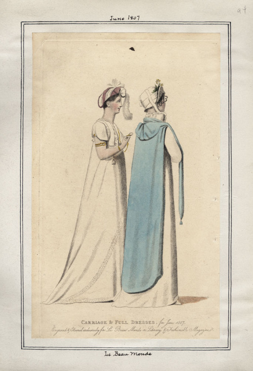 Le Beau Monde, June 1807. I LOVE the hat on the right with the turned up brim!