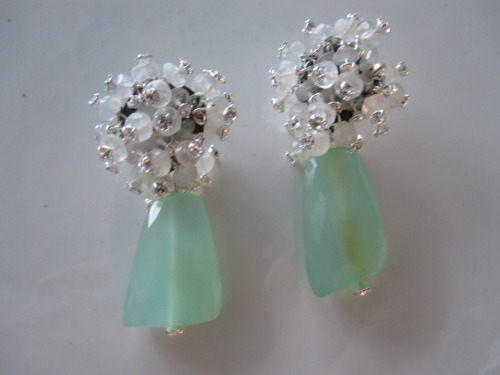 Moonstone and Green Chalcedony Earrings!