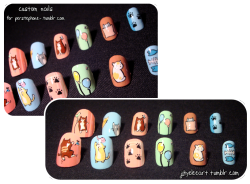 A custom nail set for perstephone-! Cute kitties, lovely color scheme (client chosen!) and a pair of rhinestones to give a nice accent. She had the cutest cat-themed planner, and she provided and wonderfully detailed description of what she wanted (づ ̄ ∇ ̄)づ This was also the first time that a client wanted them filed down, so after she took her nail measurements (Her attention to detail is incredible and made my life hella easy :D Thank you!!!) I took them off the little spine thingy and clipped/filed them. After I painted them, I realized that I needed a sturdy means of transport! D: So here's what I came up with.  Thick illustration board with double sided tape! :D This left the nails well-secured but easy to pull of when they get to her. Hope you like em, hun! ♥  I'm at 473 followers! And this is my 100th post! Once I hit 500 followers, I will be holding a giveaway….a giveaway that might be of the theme voted on in my last post! Dearly Beloved…