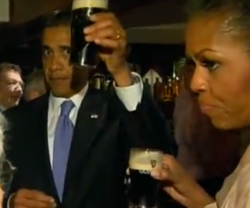 brownpau:  Barack and Michelle Obama's Guinness faces  Community organizing and getting your Irish on? Mother Jones made that cool in the 1800's, man. Slainte!