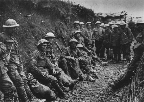Royal Irish Rifles in a trench on the first day on the Somme, 1 July 1916.