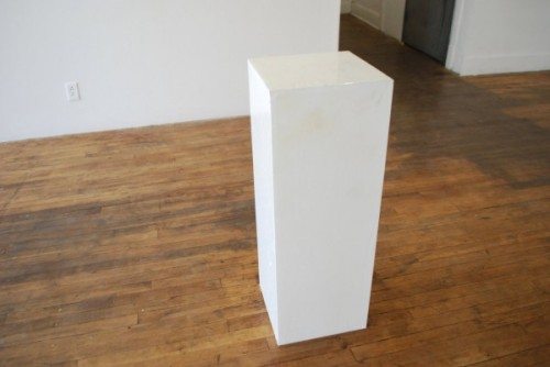 "Sticky Ped, 2011. Sticky pedestal. Carson Fisk-Vittori, Derek Frech, Justin Kemp, Joe Lacina, Joshua Pavlacky, and Daniel Wallace. At LVL3, Chicago; part of the exhibition ""A Rod Stewart Little Richard Prince Charles Manson Family."""