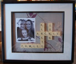 Scrabble collage of my wee family.