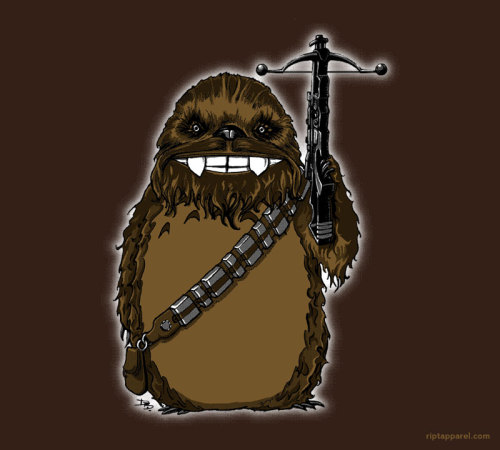 riptapparel:  Chewtoro by castlepöp - Wednesday May 25, 2011 3-color print Available in mens & womens graphic tees, back print    hoodies, kids and toddlers size tees, and onesies. Buy today only at    riptapparel.com  A whimsical mash-up of Kashyyyk's favorite son and the mysterious spirit of Japan's ancient forests.