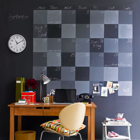 This is the best thing ever, chalkboard paint!! Click the photo for the recipe and step by step instructions for the ^pictured chalkboard wall calendar (by Martha Stewart).