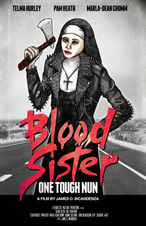 "pooryorickentertainment:  Design by Chris Ayers —————————- ""Blood Sister: One Tough Nun"" - Year of the Tucks Medicated Pad. Latrodectus Mactans Productions. Telma Hurley, Pam Heath, Marla-Dean Chumm, Dianne Saltoone, Soma Richardson-Levy, Cosgrove Watt; 35 mm; 90 minutes; color; sound. Parody of revenge/recidivism action genre, a formerly delinquent nun's (Hurley's) failure to reform a juvenile delinquent (Chumm) leads to a rampage of recidivist revenge. INTERLACE TELENT PULSE-DISSEMINATION 21 JULY Y.T.M.P., CARTRIDGE #357-87-04"