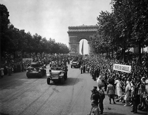 Liberation of Paris, 1944. The capital region of France had been controlled by Nazi Germany since 1940 when Germany occupied the north and west of France, and when the Vichy regime was created.