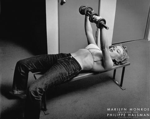 Marilyn Monroe working out (1952) by Philippe Halsman