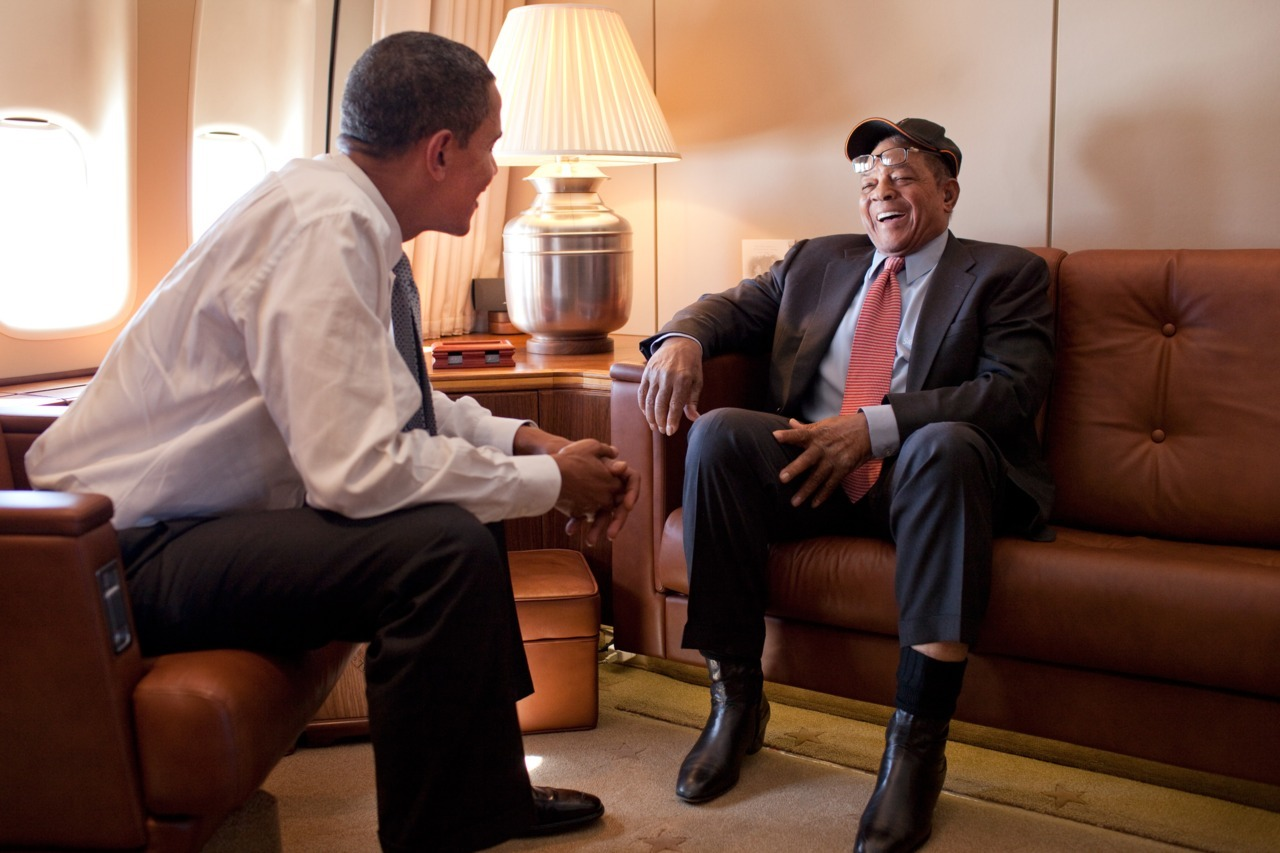 Barack Obama and Willie Mays on Air Force One submitted by lofosho (in a way)