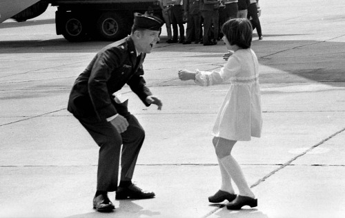 Vietnam War March 17, 1973: Heidi Hess, 9, runs to greet her father, Air Force Maj.  Jay C. Hess, at March Air Force Base following his release by the North  Vietnamese. Hess was a prisoner of war  for more than five years after  enemy fire downed his F-105 bomber.