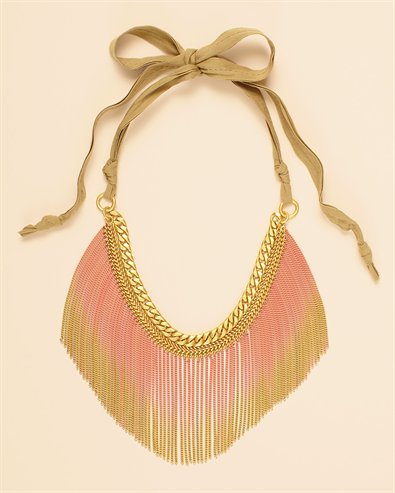 "Objet du Jour: the ""Wanderlust"" Gradient Fringe Necklace by Juicy Couture. I love the gradient effect on the fringe and that the colors make it very feminine without it being overwhelmingly girlie. What do you think?"
