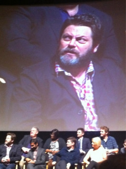 "inothernews:  apsies:  Nick Offerman is rocking some phenomenal facial hair right now. (via @parksandrecnbc)  That's his ""Just try making us a midseason show again, NBC.  Just try"" face.  ron swanson as orson welles?"