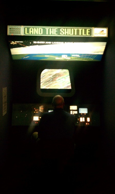 Land the shuttle interactive game at Houston Space Center. My dad designed the computer system that helps land the real shuttle, by correcting natural pilot error.