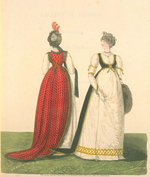 fripperiesandfobs:  oldrags:  Day dresses, 1790's United Kingdom, Gallery of Fashions  Reblogging for the magic floating train.