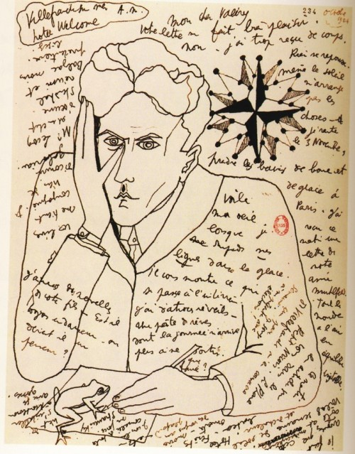 artemisdreaming:  Self-Portrait by Jean Cocteau in a letter to Paul Valéry, October 1924 From Belles Lettres: Manuscripts Of The Masters Of French Literature, Roselyne de Ayala and Jean-Pierre Guéno