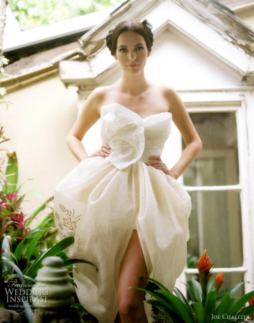 weddinginspirasi:  Joe Challita Bridal Couture  Like a delicate flower bud about to blossom. Adorable short wedding dress from Joe Challita's 2011 bridal collection. More Joe Challita wedding dresses