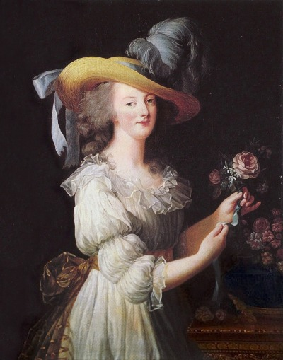 vivelareine:  Marie Antoinette en Gaulle, 1783 Élisabeth Vigée-Lebrun  I've always thought that Marie Antoinette should be credited with the beginning of Regency fashions based on this portrait. She revolutionized the simple look that followed in the next period of dress.