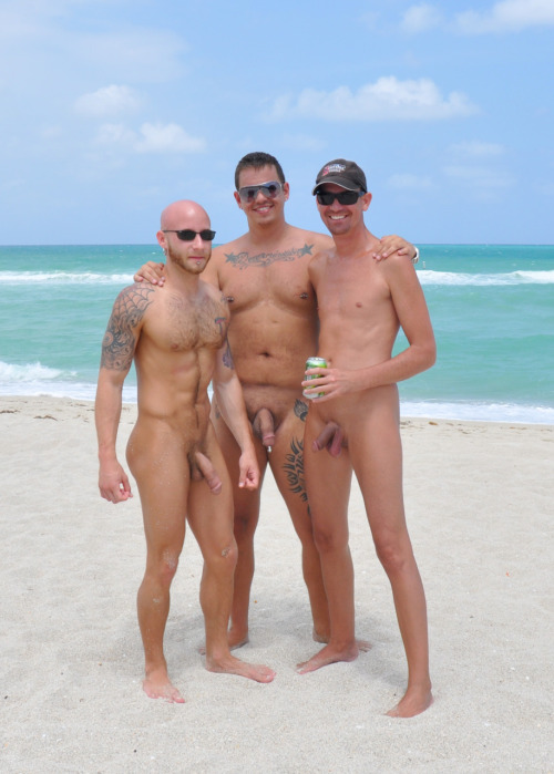 hairyexhibitionist:  Porn star Drake Jaden, Me and Mike at the beach!  Nothing like being naked in front of thousands of other people :)
