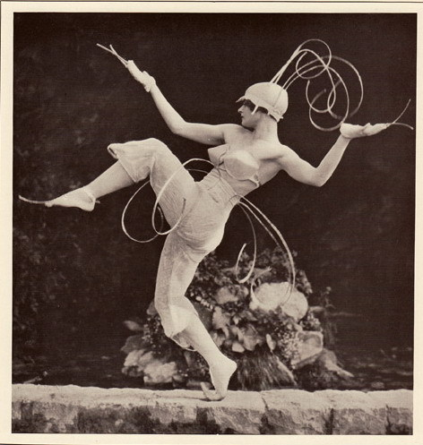 miss-mary-quite-contrary:  Lois Hutton .The centre figure of dance for five people, composed and costumed designed by Lois Hutton to music by Ravel. Plate XXXIII from Margaret Morris – Dancing, photographs by Fred Daniels