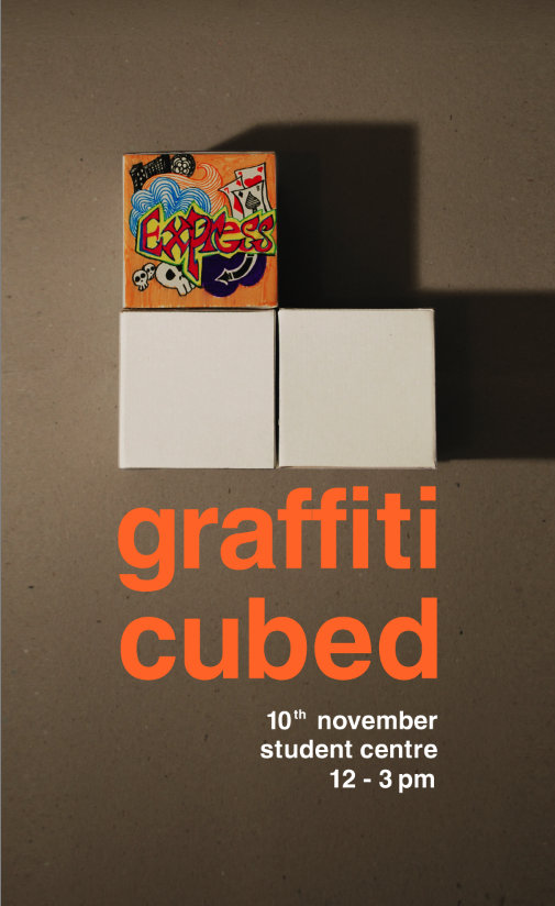 Graffiti cubed was an event created AD1-210 residents Aisha AlQaseer and Sahar Sheikh. This event was part of an experiment dealing with self expression. They provided students at the American University of Sharjah with blank 11x11cm boxes and instructed them to write or draw whatever they liked on them using poster paints and markers. The event was a success as they managed to bring people together and let them express themselves through art. This event was organized as part of our design studio course, Fall 2011 as part of a proposed promotional campaign for the Sharjah Biennial. By involving people in the creation of art, they built a new found interest in many of the students at AUS.  You can see photos from the event on their Facebook page and the Graffiti Cubed blog.