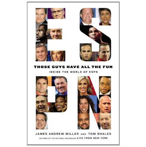 "Happy release day of the very eagerly anticipated book ""Those Guys Have All the Fun: Inside the World of ESPN."" Very little of the 784-page monster leaked early, and I've purposely avoided all of it, so that I can enjoy the work myself. Hope I can get through it before inadvertently running into tweets and blog posts all over the Internet about the content. Deadspin already has a post titled, ""What We've Learned From the ESPN Book So Far"" (no, I heaven't read it!) and you can can follow James Andrew Miller on Twitter at @ESPNBook. He's got nearly 8,000 followers, and that's sure to jump plenty during what will be a busy week for him. Amazon and iTunes are selling the digital version for $14.99, and Amazon is selling the hardcover version for $14.91. Yes, cheaper for the nearly 800-page paper version. Senseless."