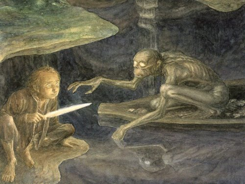 Bilbo and gollum: The Hobbit