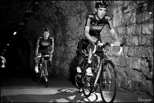 Michael Barry +  Peter Kennaugh by kristof ramon on Flickr.  Kristof Ramon was the only photographer in the Zoncolan tunnel. Some great Giro photos here, including some tunnel love. Rad. (Via @Bomboloni)