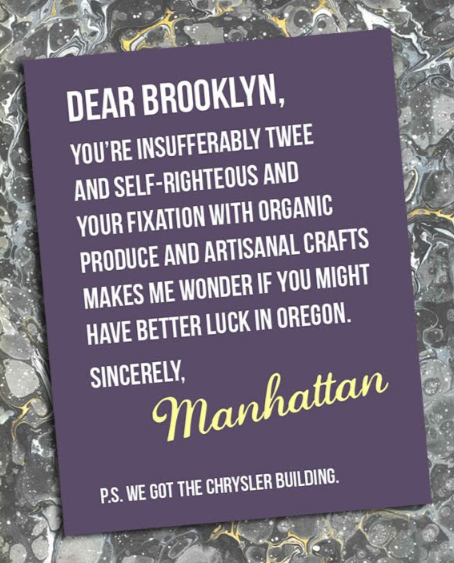 laughingsquid:  Brooklyn vs. Manhattan Posters  Oh, now it's on.