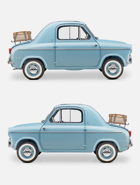 "Coveting: Vespa 400 micro car.  The Vespa 400 was a rear-engined micro car, produced by ACMA (Ateliers  de construction de motocycles et d'automobiles) in Fourchambault,  France, from 1957 to 1961 to the designs of the Italian Piaggio company. Two different versions were sold, ""Lusso"" and ""Turismo"".  Okay, okay; no hauling camping gear, or big trips to IKEA.  But come on- how adorable (can a car be adorable?!) is this blue vision?  It's love at first sight! (via  Iain Claridge)"