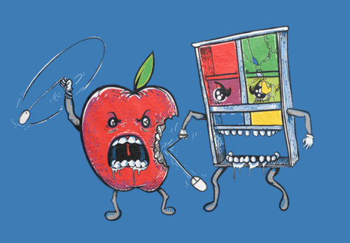 "threadless:  It Went Down in Silicon Valley by nikoby ""I'll punch your interface in!""""I'll bite you a new one!"""