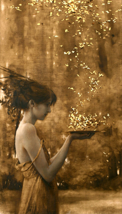 "Brad Kunkle, ""Two Suns,"" Oil and Gold leaf on canvas, 21"" x 12"""