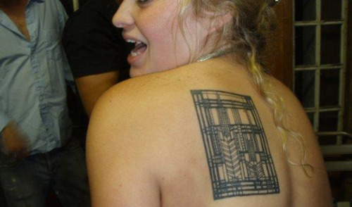 Architecture tattoos: [ ] LAME or [ ] AWESOME Partyin' with Frank Lloyd Wright, pictured above.