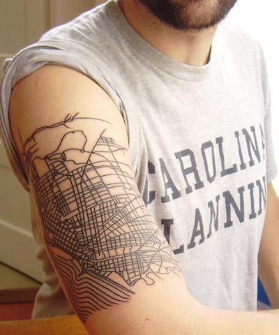 Architecture tattoos: [ ] RAD or [ ] BAD Actually do not hate this one! Someone takes his urban planning degree very seriously.
