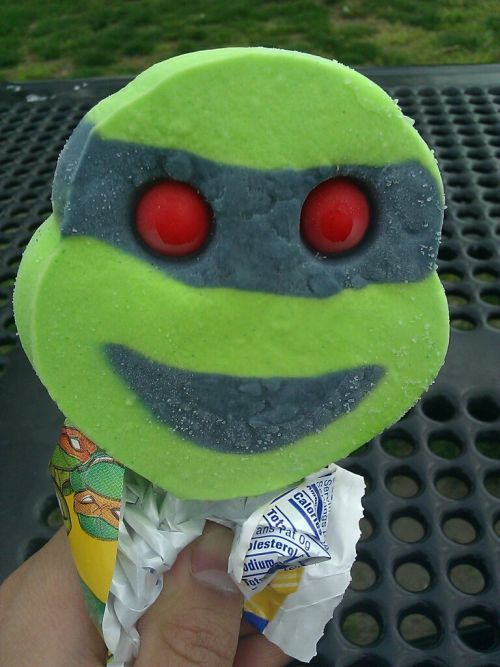 Ninja Turtles Ice Cream Why did mine always look like the ice cream truck ran over its face?  I never had one so perfect-looking. lol