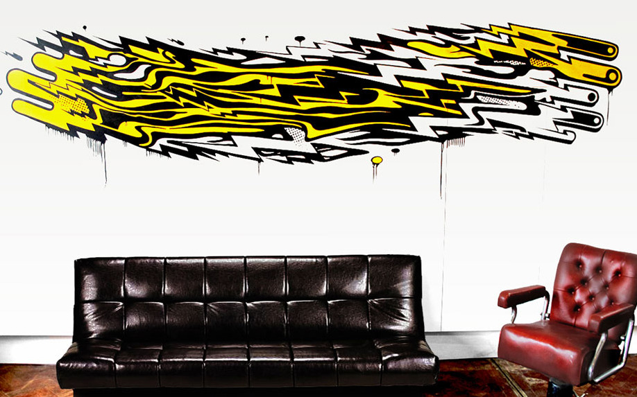 Cool wall mural by Mark Ward….check him out his work is fab!