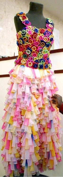 Just wear it…  candy1852:  A dress made of condoms…genius…